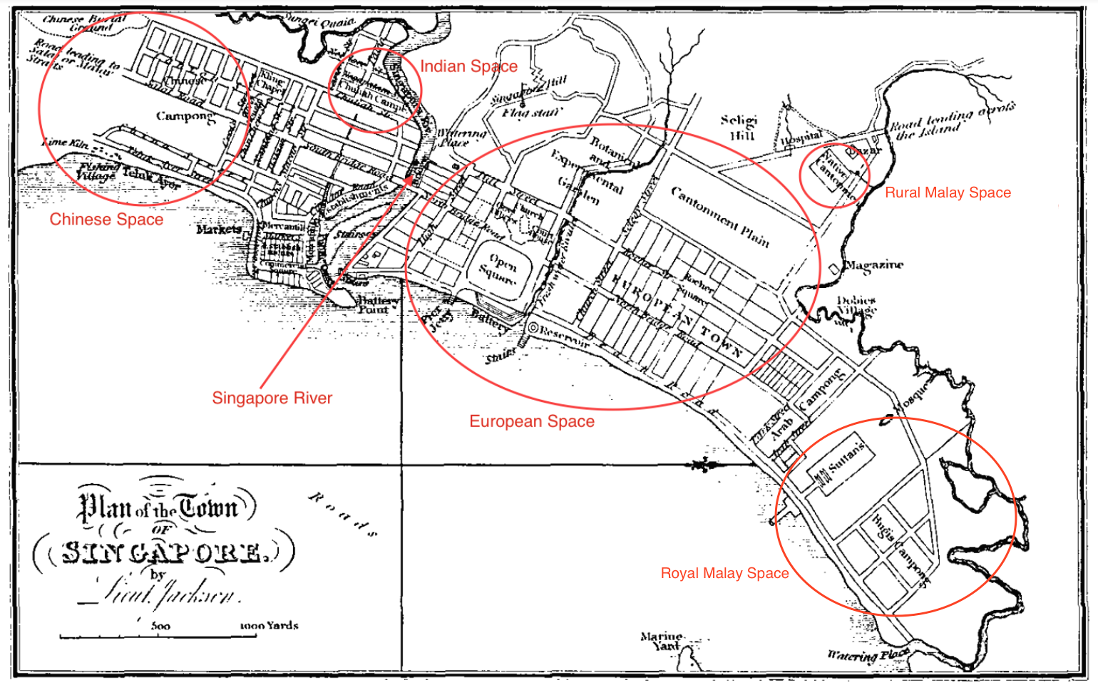 "Raffles' Town Plan in 1823. The square pictured is the ""open square"" in the middle of European Town. - New Naratif"
