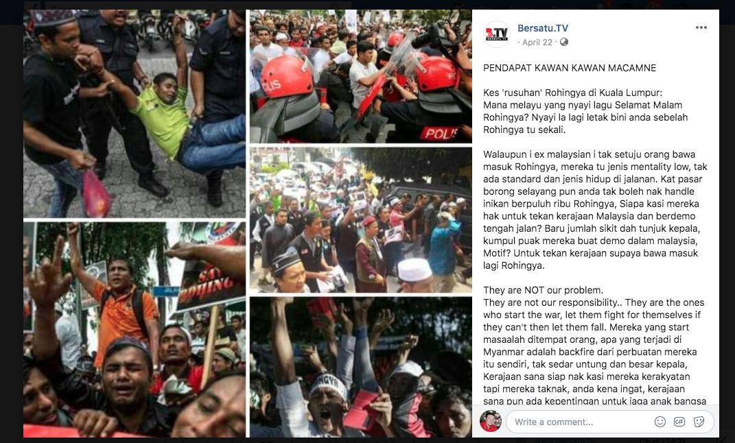 """Tangkapan skrin hantaran Facebook oleh Bersatu.tv yang mendakwa mereka adalah platform media rasmi untuk parti BERSATU yang mentadbir kerajaan. Bersatu.tv telah mengeluarkan hantaran yang mengandungi maklumat palsu yang menimbulkan kebencian terhadap Rohingya. Hantaran ini menuduh orang Rohingya """"berkemampuan mental rendah"""" dan melakukan rusuhan di Kuala Lumpur dan menuntut agar lebih ramai orang Rohingya diterima di Malaysia."""