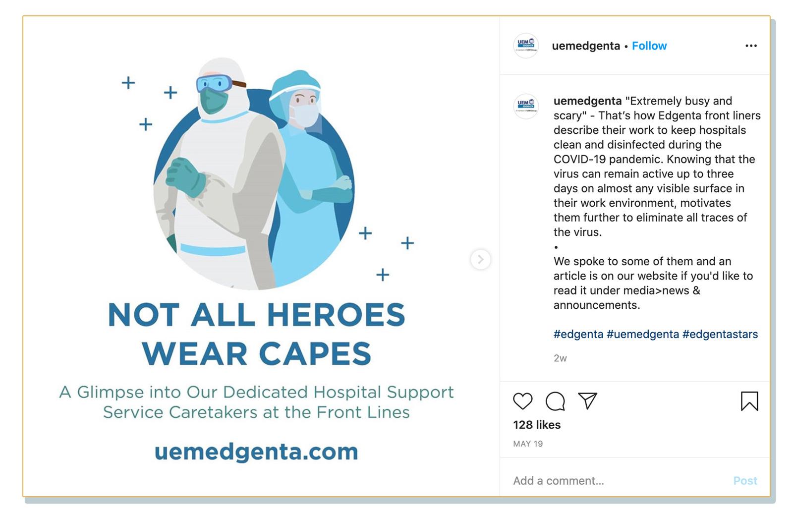 Hantaran dari laman Instagram rasmi UEMS, di mana syarikat itu mengiklankan artikel di laman web mereka yang menemu ramah pekerja perkhidmatan hospital diupah mereka.